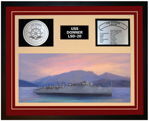 USS DONNER LSD-20 Framed Navy Ship Display Burgundy