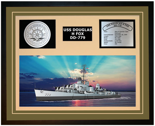 USS DOUGLAS H FOX DD-779 Framed Navy Ship Display Green