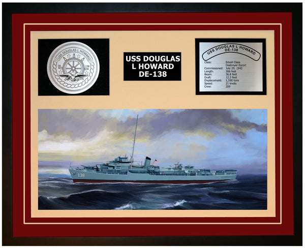 USS DOUGLAS L HOWARD DE-138 Framed Navy Ship Display Burgundy