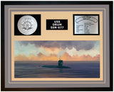 USS DRUM SSN-677 Framed Navy Ship Display Grey