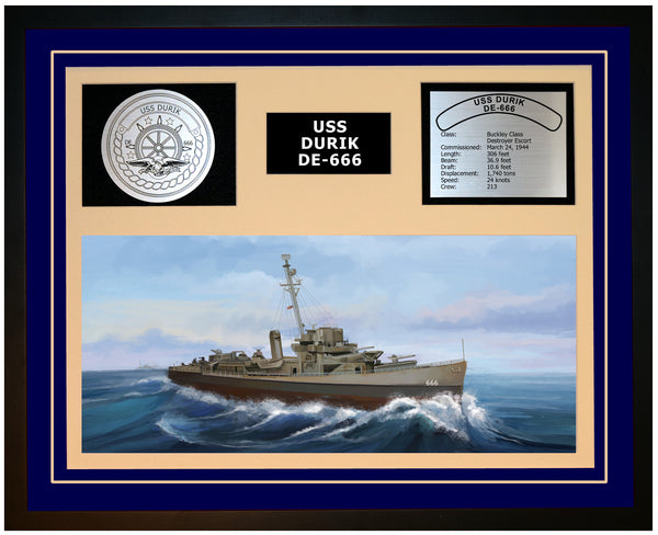 USS DURIK DE-666 Framed Navy Ship Display Blue