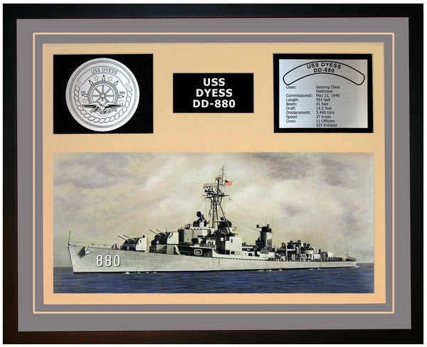 USS DYESS DD-880 Framed Navy Ship Display Grey