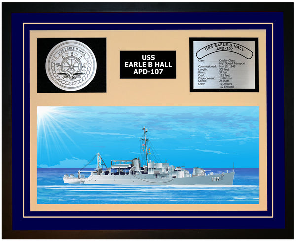 USS EARLE B HALL APD-107 Framed Navy Ship Display Blue