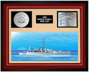 USS EARLE B HALL APD-107 Framed Navy Ship Display Burgundy