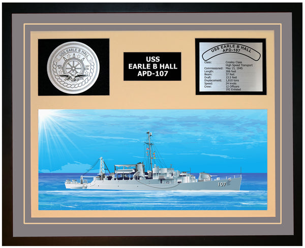 USS EARLE B HALL APD-107 Framed Navy Ship Display Grey