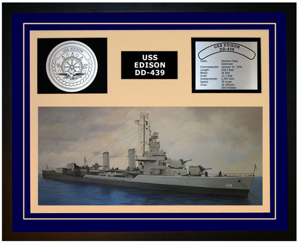 USS EDISON DD-439 Framed Navy Ship Display Blue