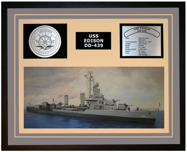 USS EDISON DD-439 Framed Navy Ship Display Grey