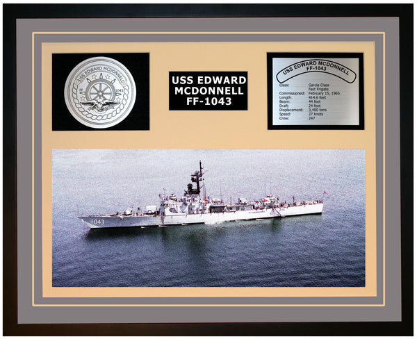 USS EDWARD MCDONNELL FF-1043 Framed Navy Ship Display Grey