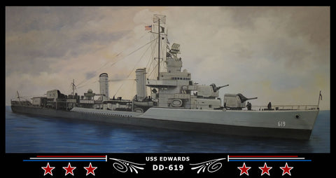USS Edwards DD-619 Art Print