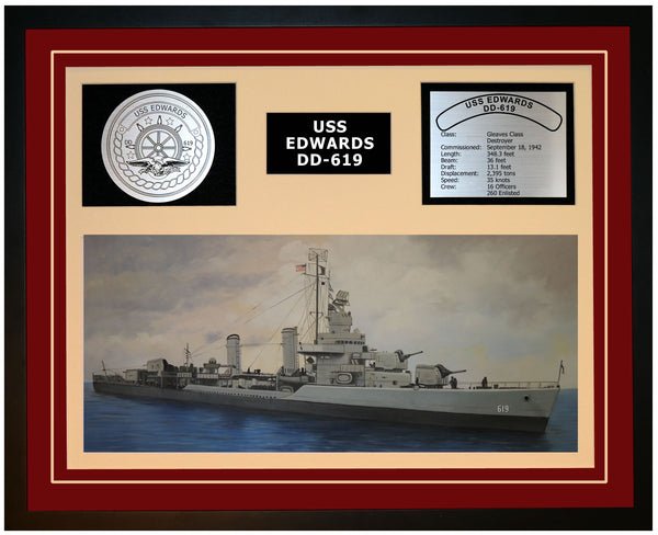 USS EDWARDS DD-619 Framed Navy Ship Display Burgundy