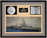 USS EDWARDS DD-619 Framed Navy Ship Display Grey