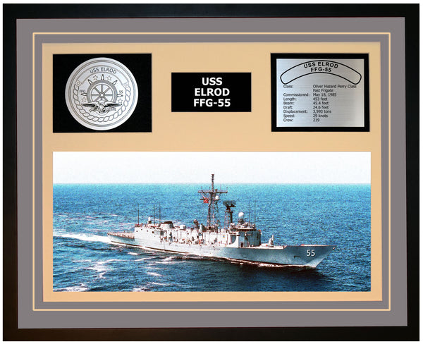 USS ELROD FFG-55 Framed Navy Ship Display Grey