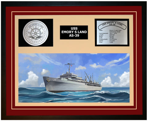 USS EMORY S LAND AS-39 Framed Navy Ship Display Burgundy