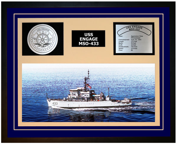 USS ENGAGE MSO-433 Framed Navy Ship Display Blue