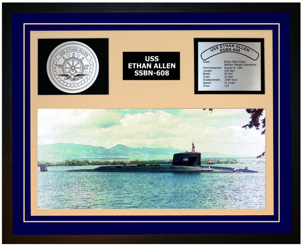 USS ETHAN ALLEN SSBN-608 Framed Navy Ship Display Blue