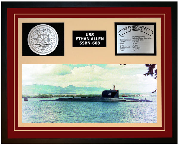 USS ETHAN ALLEN SSBN-608 Framed Navy Ship Display Burgundy