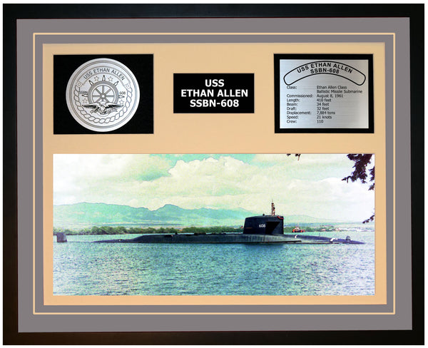 USS ETHAN ALLEN SSBN-608 Framed Navy Ship Display Grey