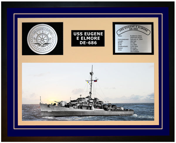 USS EUGENE E ELMORE DE-686 Framed Navy Ship Display Blue