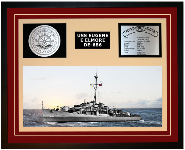 USS EUGENE E ELMORE DE-686 Framed Navy Ship Display Burgundy