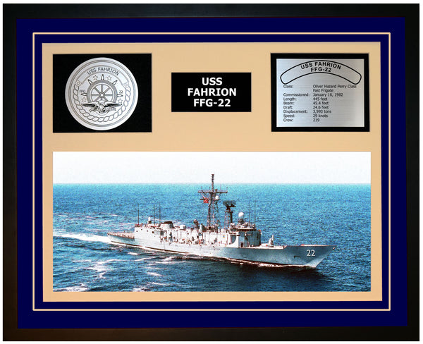 USS FAHRION FFG-22 Framed Navy Ship Display Blue