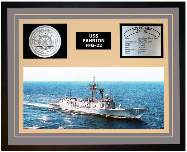 USS FAHRION FFG-22 Framed Navy Ship Display Grey