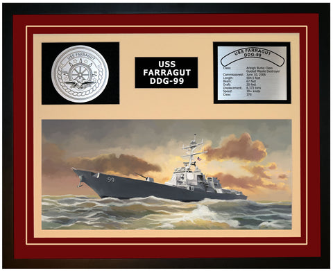 USS FARRAGUT DDG-99 Framed Navy Ship Display Burgundy