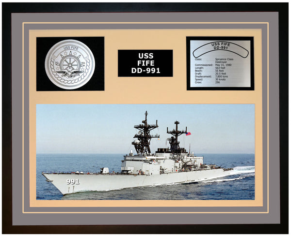 USS FIFE DD-991 Framed Navy Ship Display Grey