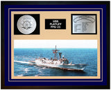 USS FLATLEY FFG-21 Framed Navy Ship Display Blue