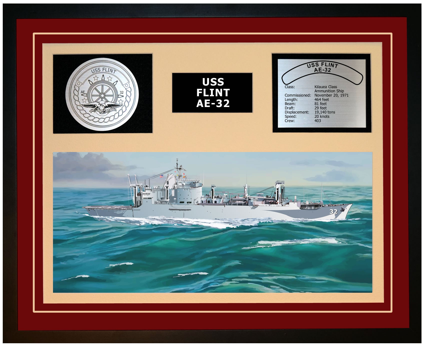 USS FLINT AE-32 Framed Navy Ship Display Burgundy