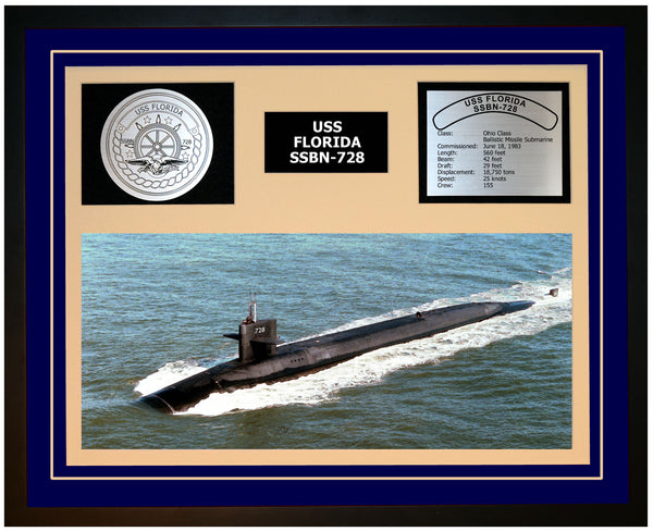USS FLORIDA SSBN-728 Framed Navy Ship Display Blue