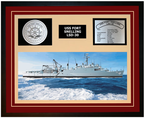 USS FORT SNELLING LSD-30 Framed Navy Ship Display Burgundy