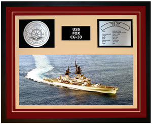 USS FOX CG-33 Framed Navy Ship Display Burgundy