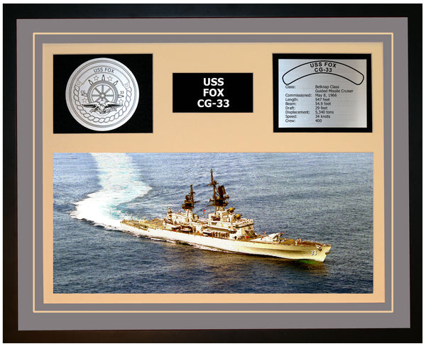 USS FOX CG-33 Framed Navy Ship Display Grey