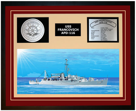 USS FRANCOVICH APD-116 Framed Navy Ship Display Burgundy