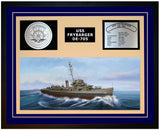 USS FRYBARGER DE-705 Framed Navy Ship Display Blue