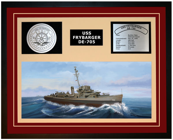 USS FRYBARGER DE-705 Framed Navy Ship Display Burgundy