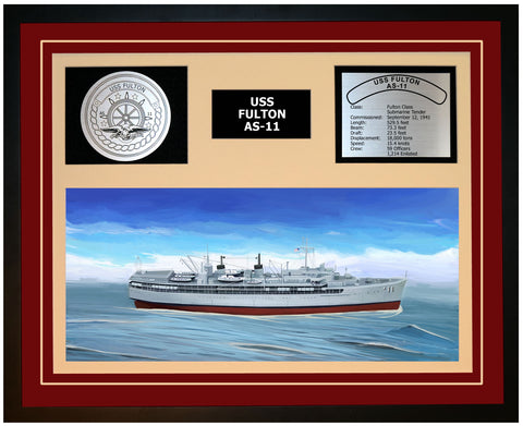 USS FULTON AS-11 Framed Navy Ship Display Burgundy