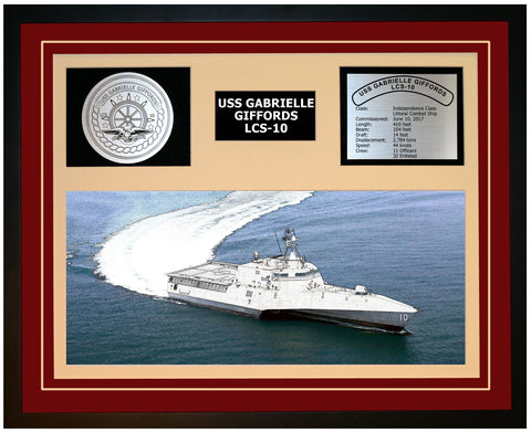 USS GABRIELLE GIFFORDS LCS-10 Framed Navy Ship Display Burgundy