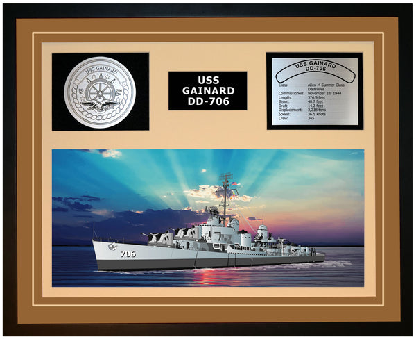 USS GAINARD DD-706 Framed Navy Ship Display Brown
