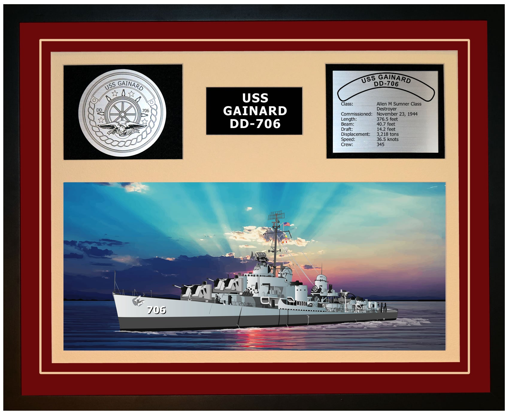 USS GAINARD DD-706 Framed Navy Ship Display Burgundy