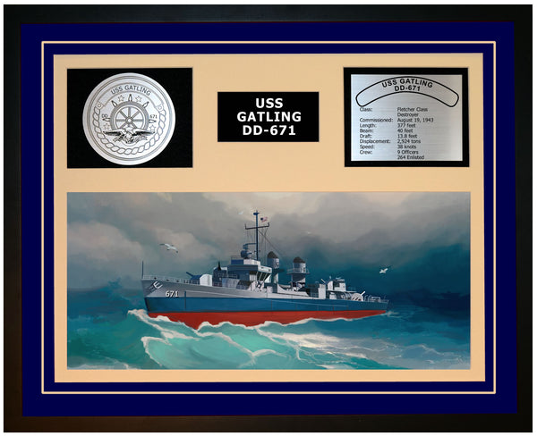 USS GATLING DD-671 Framed Navy Ship Display Blue