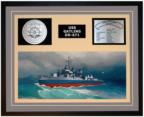 USS GATLING DD-671 Framed Navy Ship Display Grey