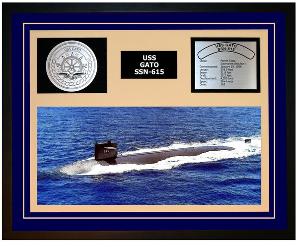 USS GATO SSN-615 Framed Navy Ship Display Blue