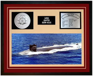 USS GATO SSN-615 Framed Navy Ship Display Burgundy
