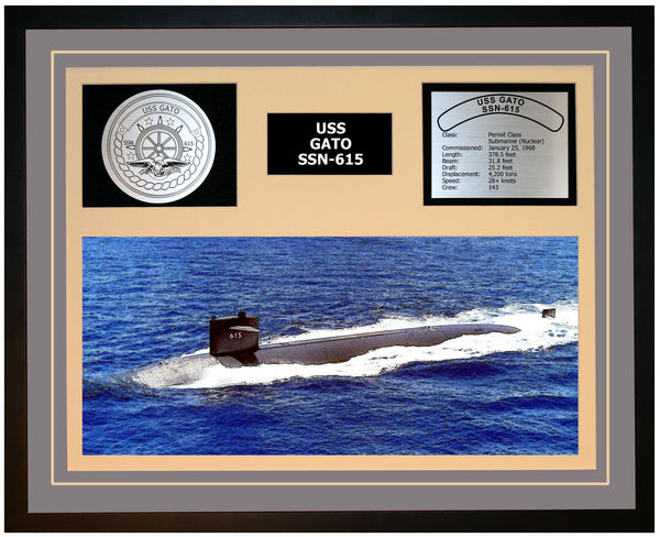 USS GATO SSN-615 Framed Navy Ship Display Grey