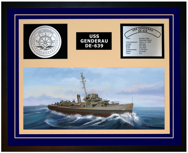 USS GENDERAU DE-639 Framed Navy Ship Display Blue