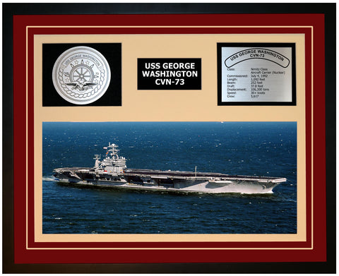 USS GEORGE WASHINGTON CVN-73 Framed Navy Ship Display Burgundy