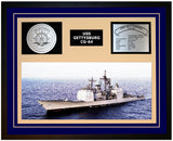 USS GETTYSBURG CG-64 Framed Navy Ship Display Blue
