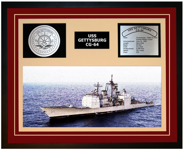 USS GETTYSBURG CG-64 Framed Navy Ship Display Burgundy