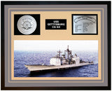 USS GETTYSBURG CG-64 Framed Navy Ship Display Grey
